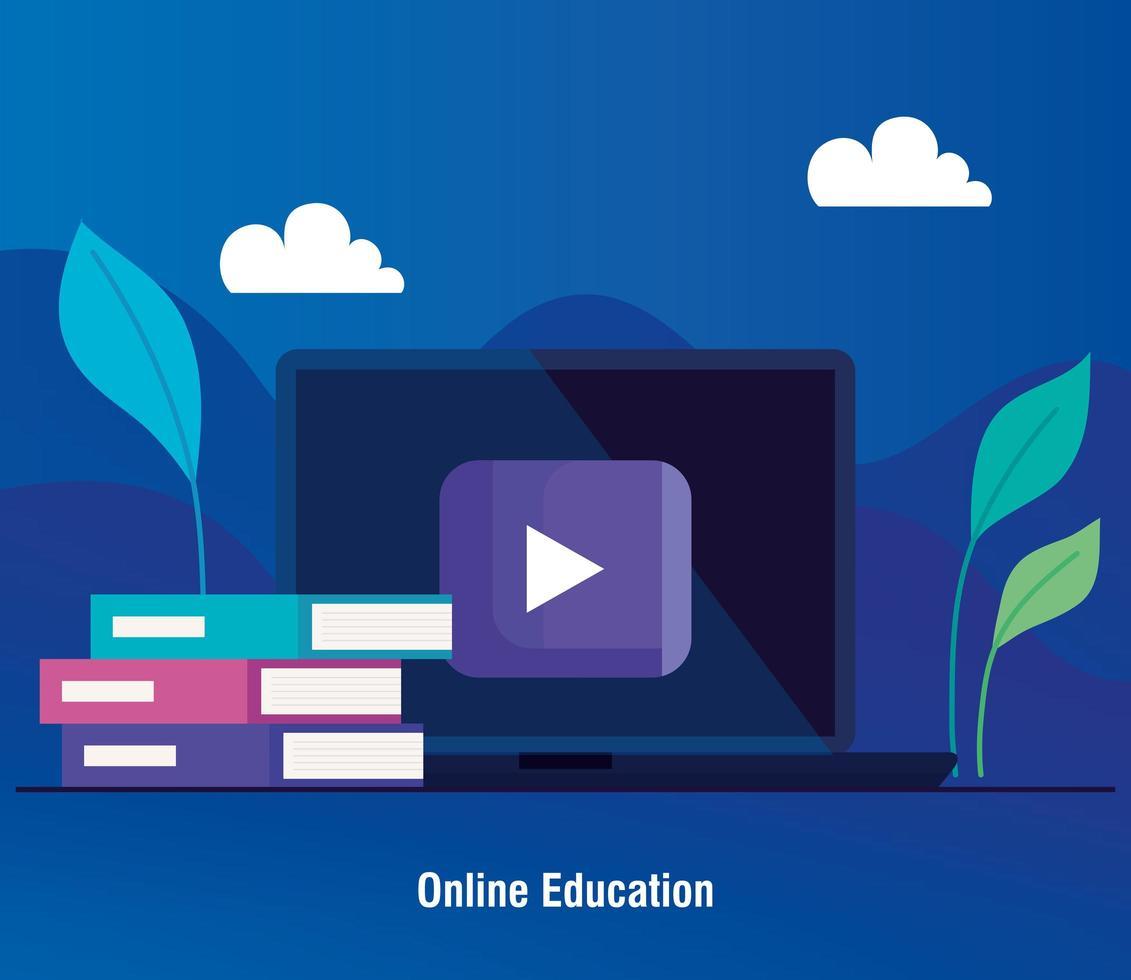 tecnologia de educação online com um laptop vetor