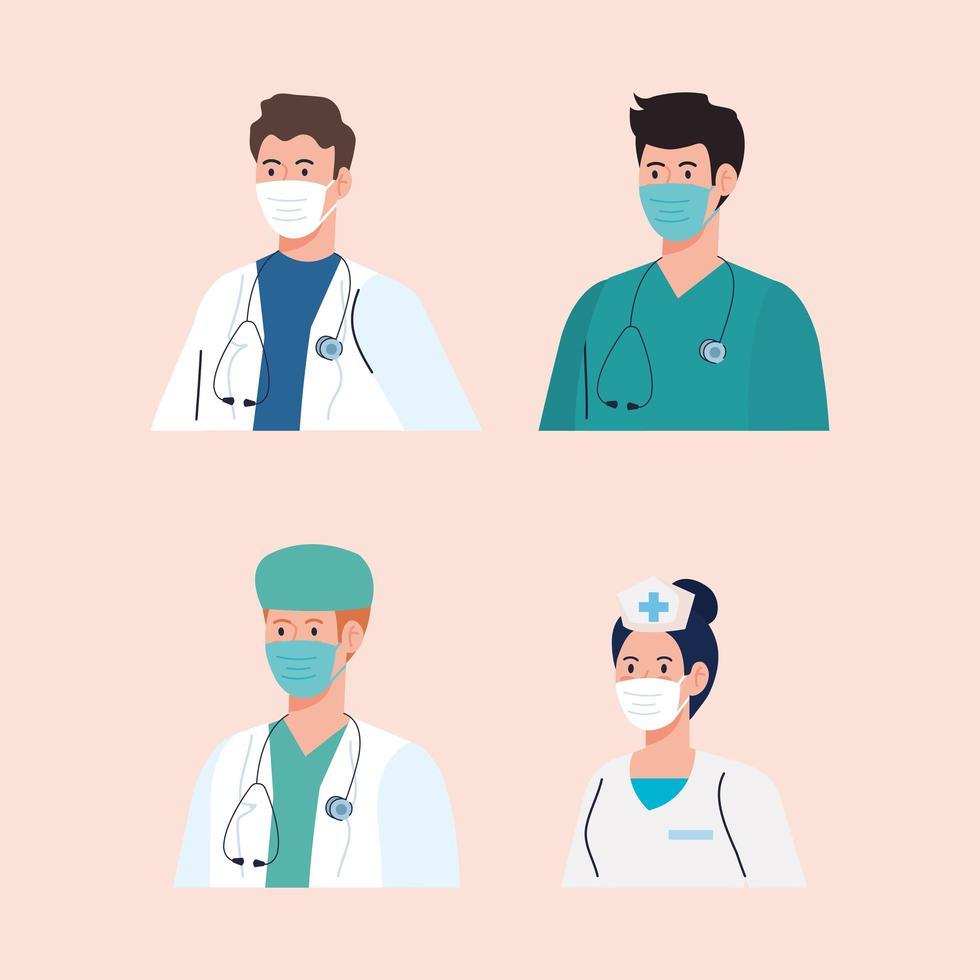 equipe médica usando máscaras durante a pandemia de coronavírus vetor