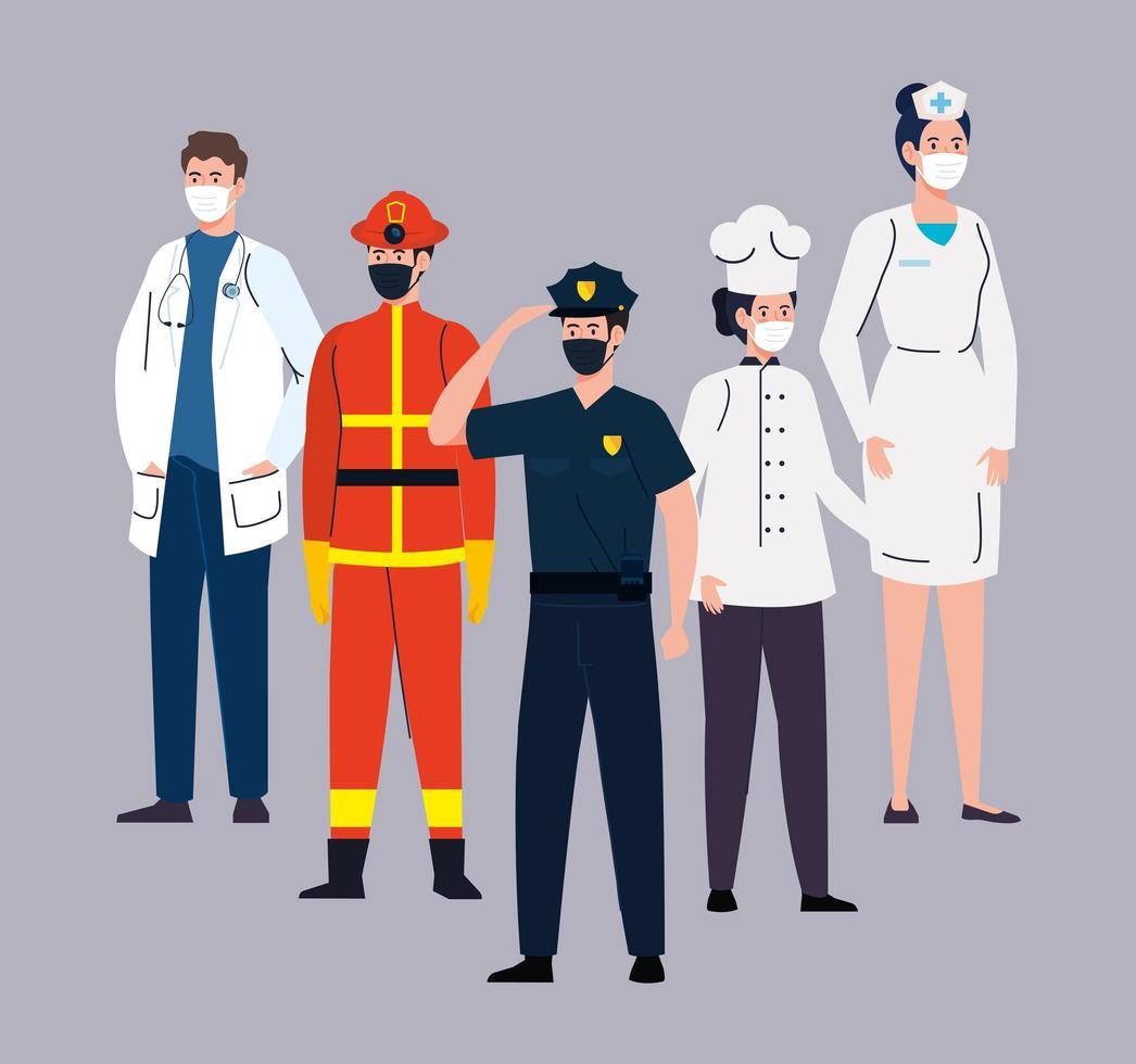 grupo de trabalhadores essenciais usando máscaras faciais durante a pandemia de coronavírus vetor