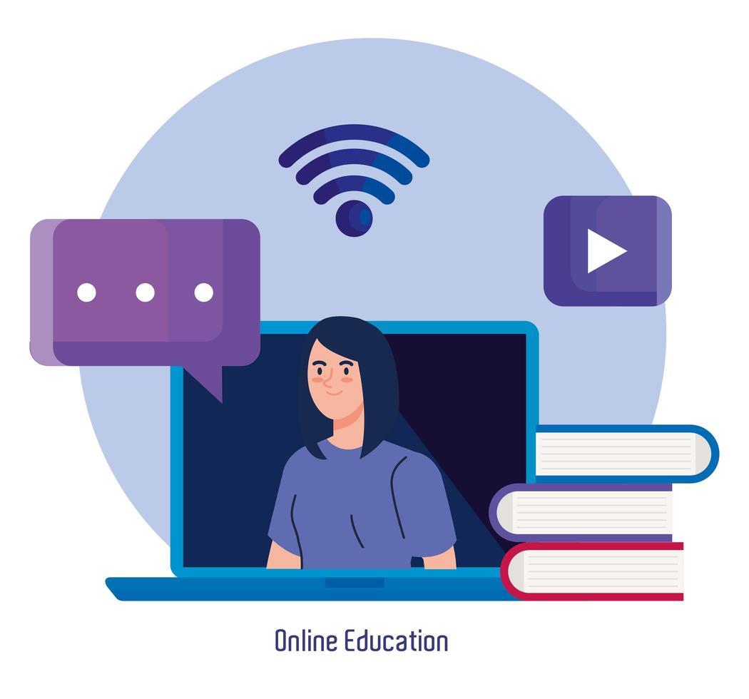 tecnologia de educação online com mulher e laptop vetor