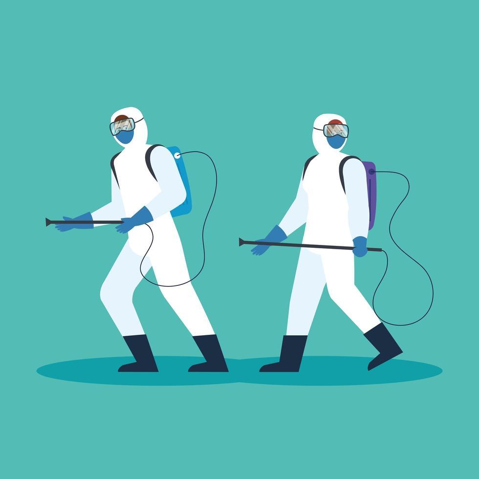 pessoas com roupas de proteção para a desinfecção de coronavírus vetor