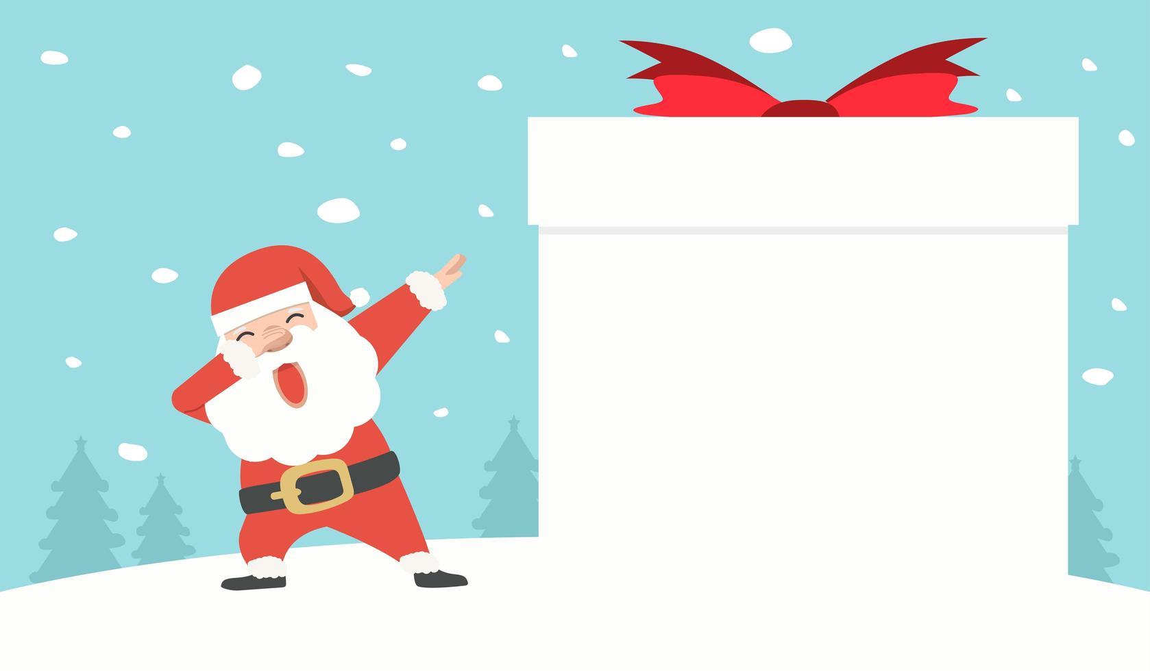 Papai Noel dançando com uma caixa de presente de sinal em branco vetor
