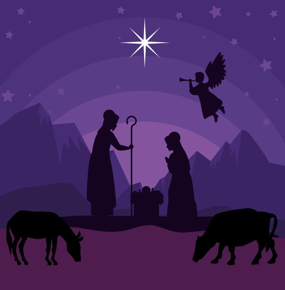 feliz natal e natividade com Maria, José e o bebê Jesus vetor