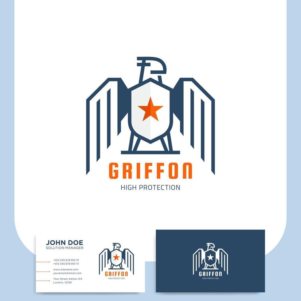 placa e cartão de visita da griffon security company vetor