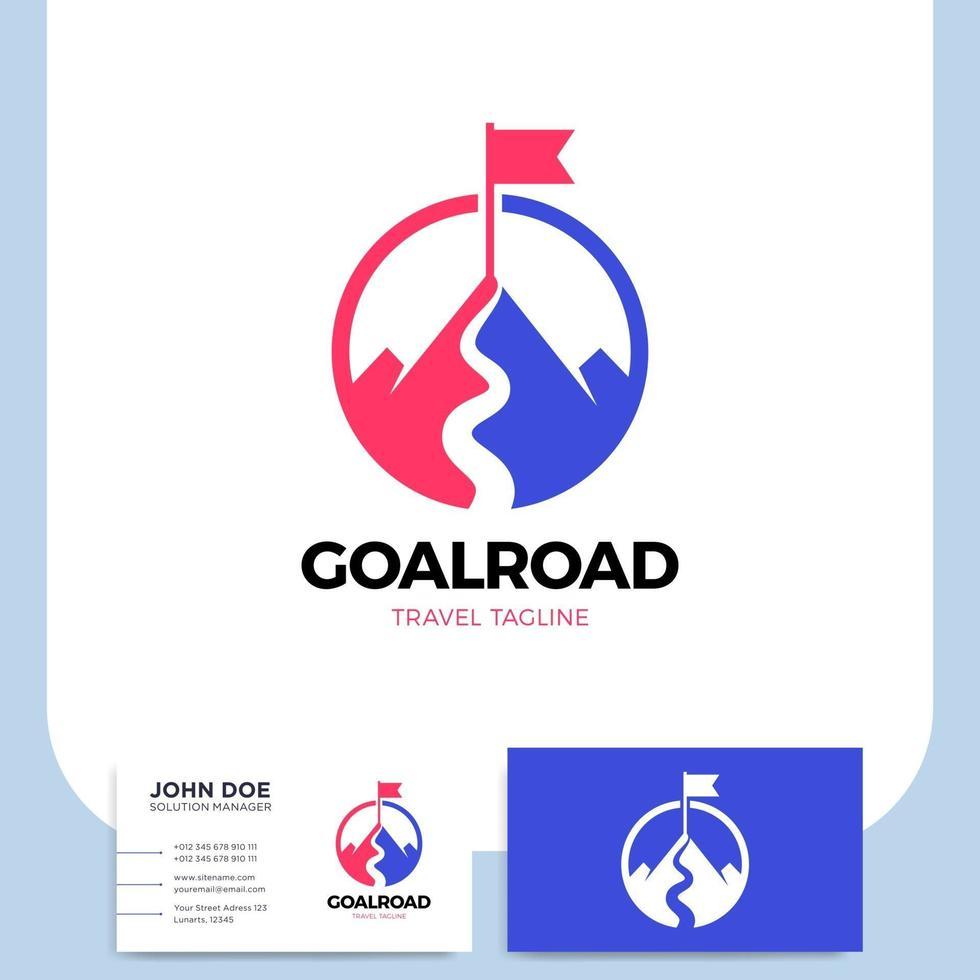 ilustração e cartão de visita do objetivo da montanha vetor