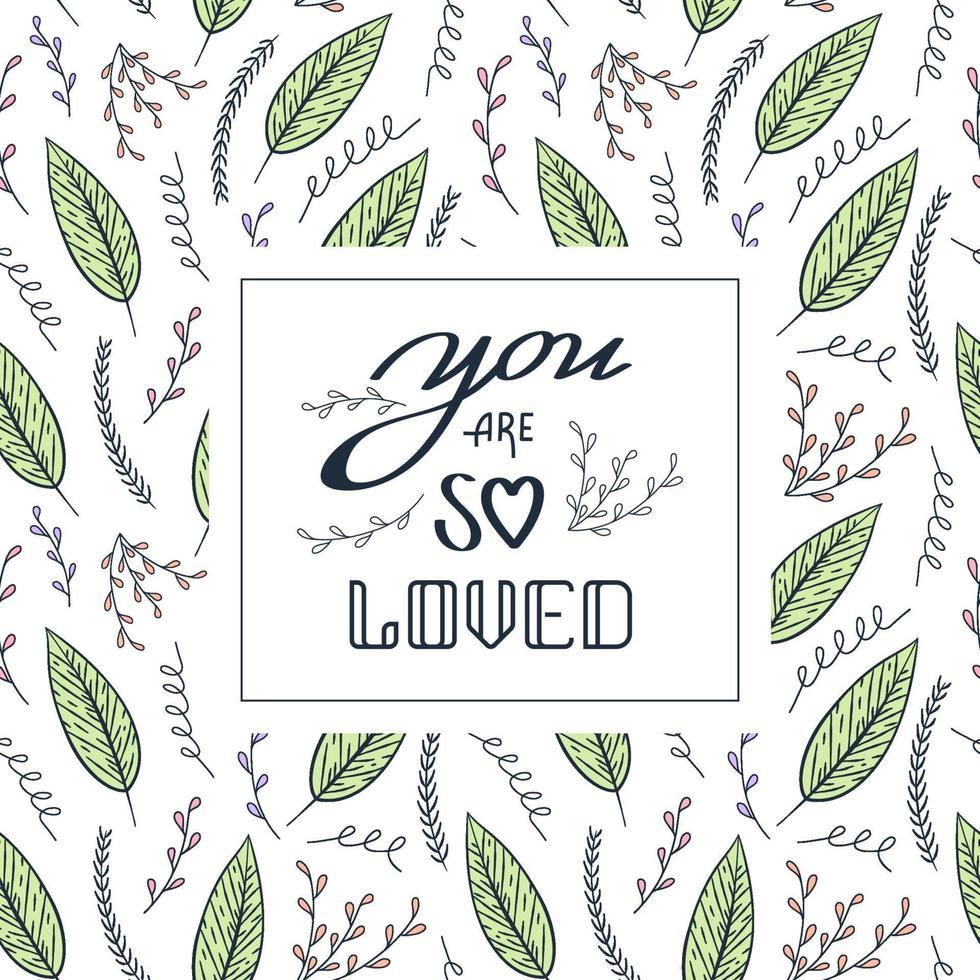 você é tão amado cartão com folhas vetor