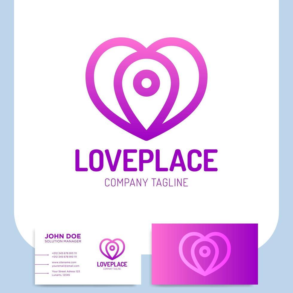 lugar de amor. coração com ícone de pino e cartão de visita vetor