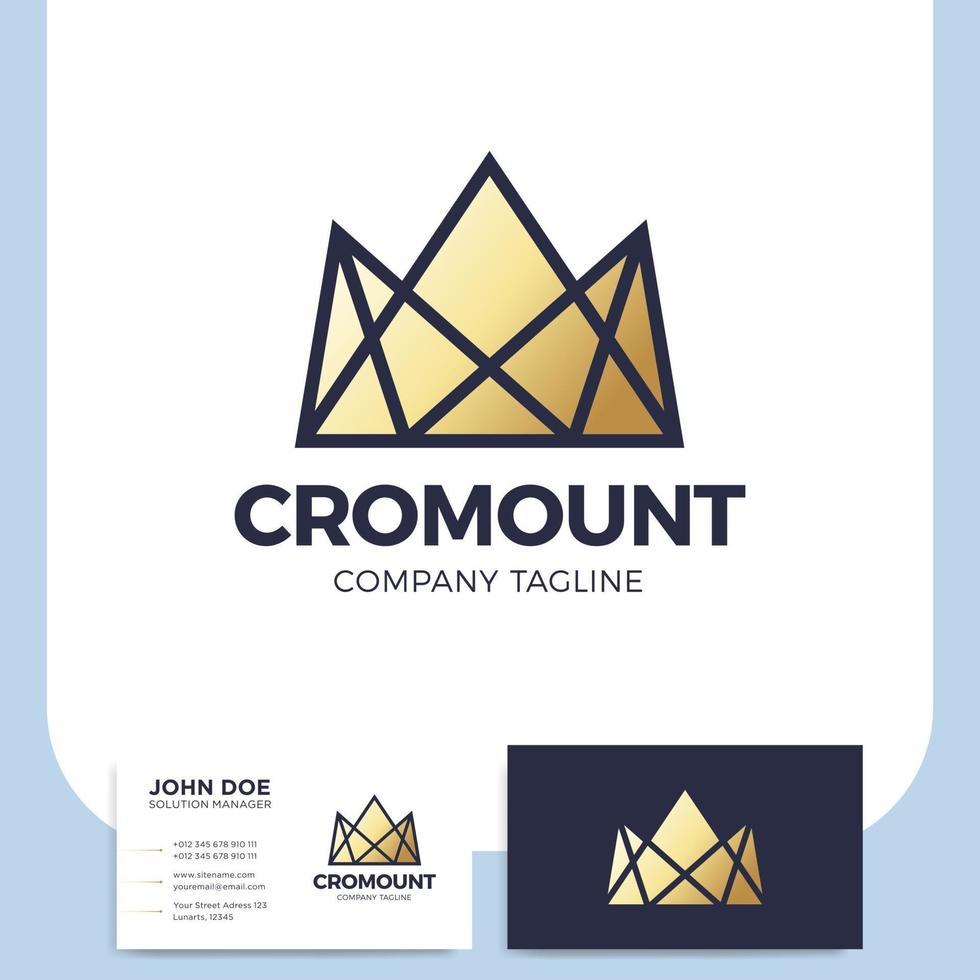 ícone e cartão de visita da coroa da montanha vetor