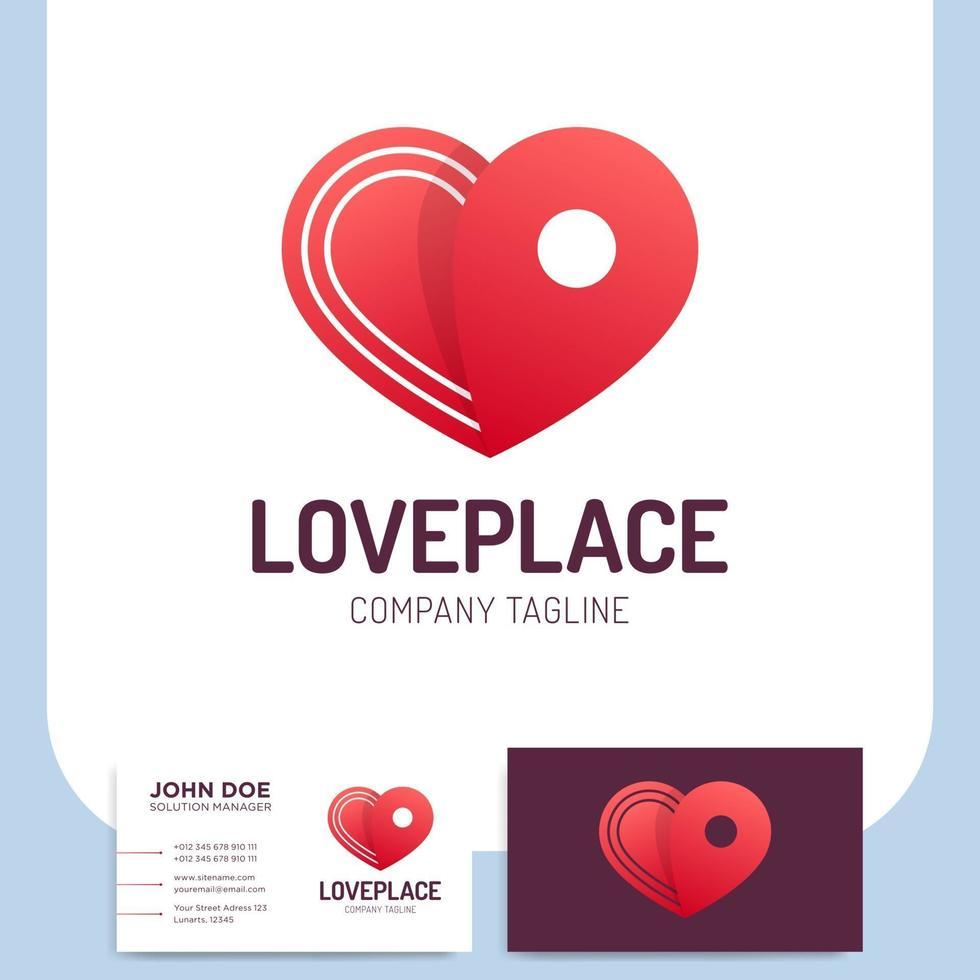 ícone de coração e cartão de visita logístico vetor
