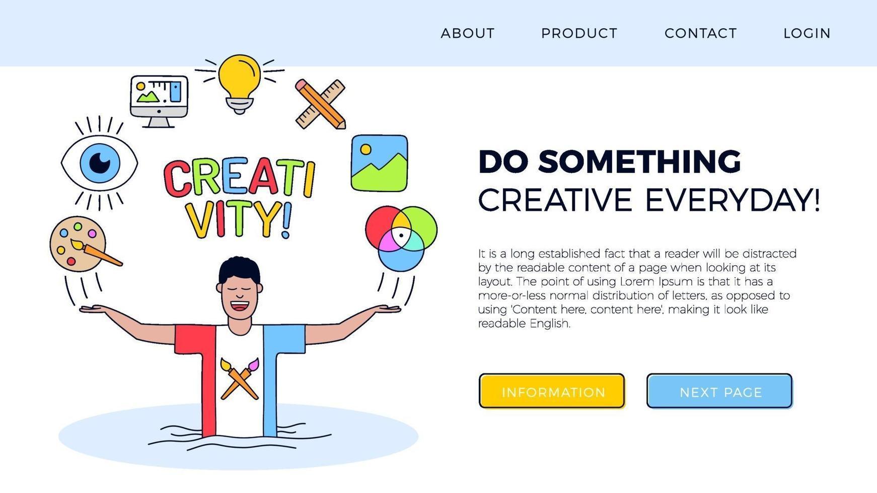 ilustração da página de destino da criatividade vetor