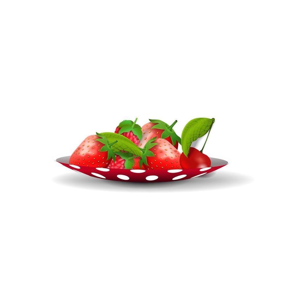 pires com morangos isolados em um fundo branco para sua criatividade vetor