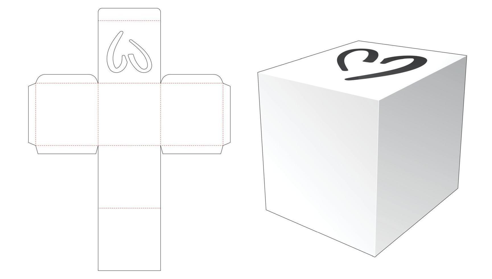caixa quadrada com janela de coração em modelo de corte e vinco vetor