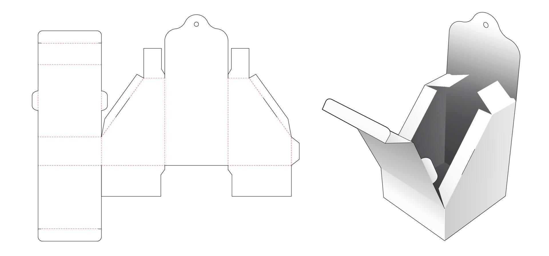 caixa de embalagem chanfrada com molde de orifício suspenso vetor