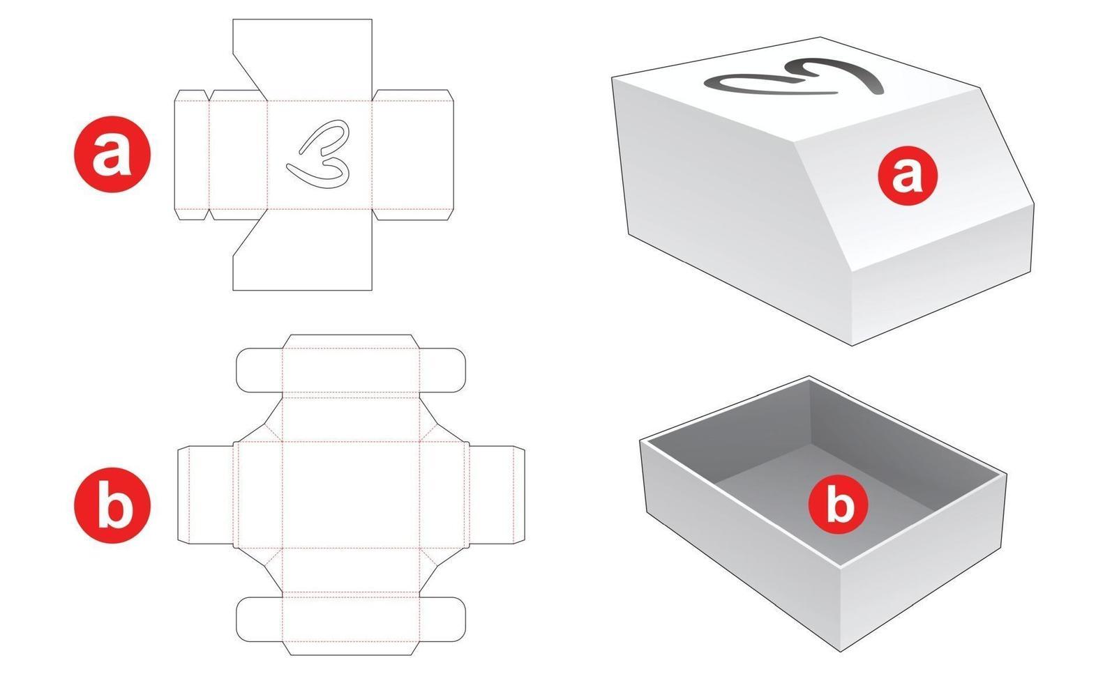 caixa e tampa chanfrada com molde de corte de coração para janela vetor