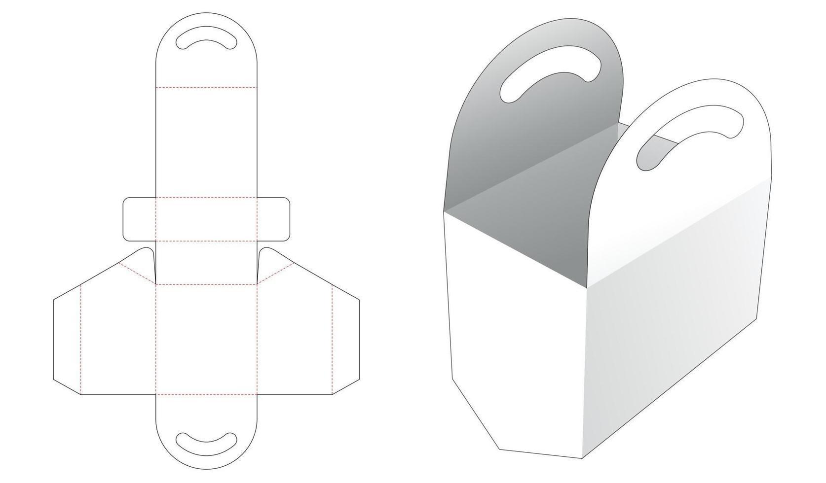 saco de papelão com molde de fundo chanfrado vetor