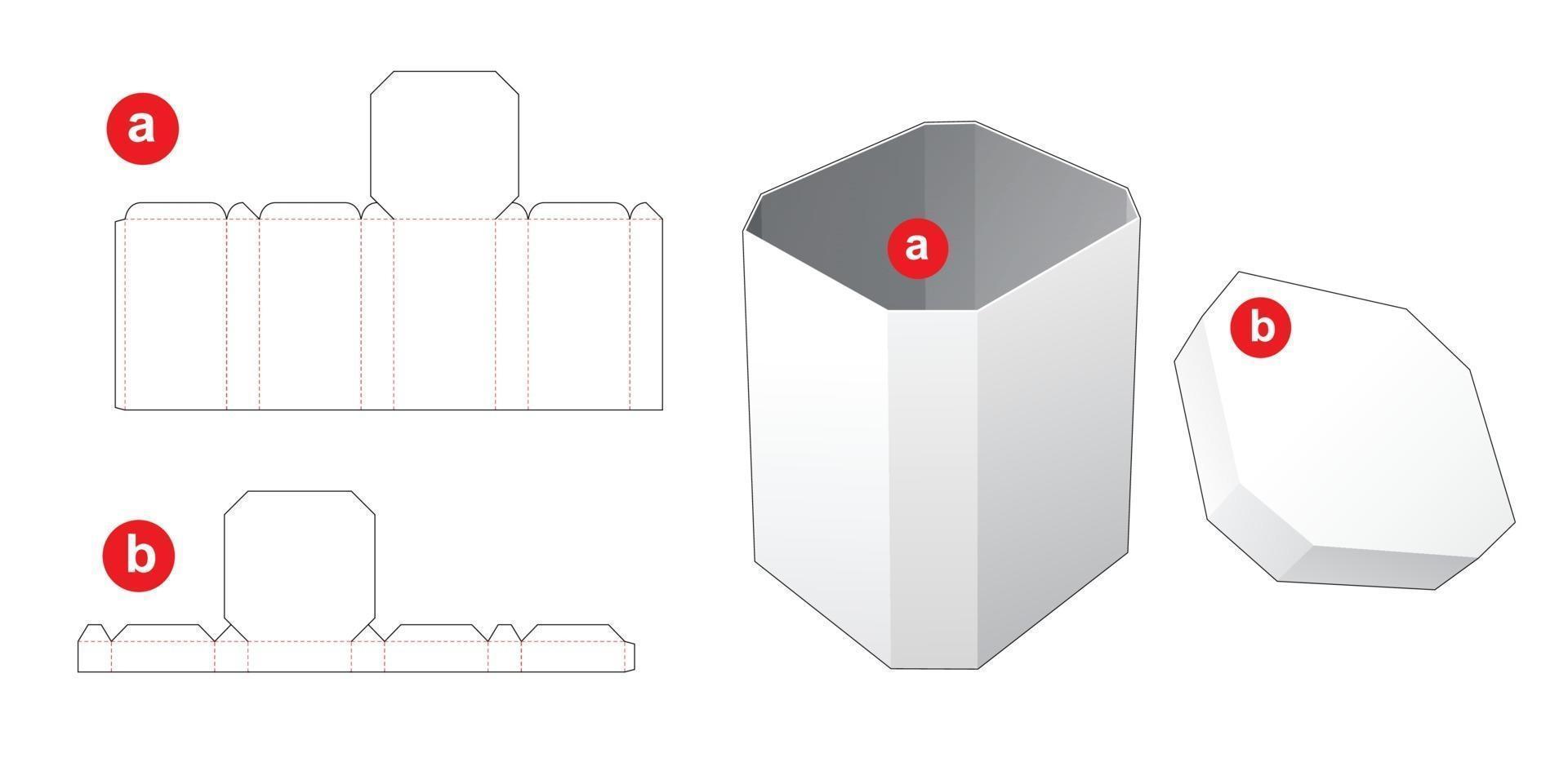 caixa de canto chanfrado com molde de corte de molde de tampa de canto chanfrado vetor