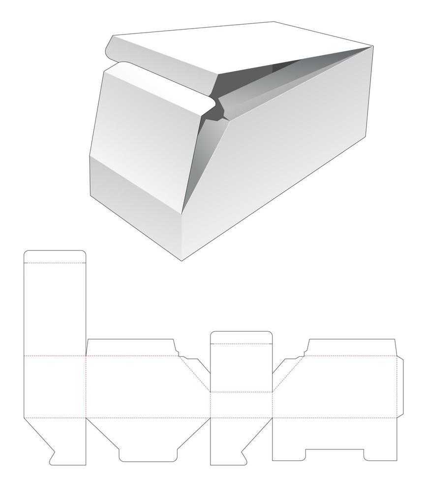 molde recortado de papelão 2 caixa chanfrada vetor
