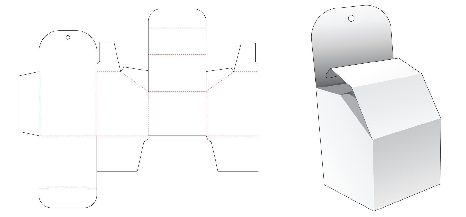 molde para caixa de embalagem chanfrada furo pendurado vetor