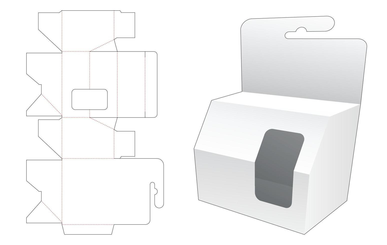 caixa de embalagem chanfrada pendurada com molde de janela cortada vetor