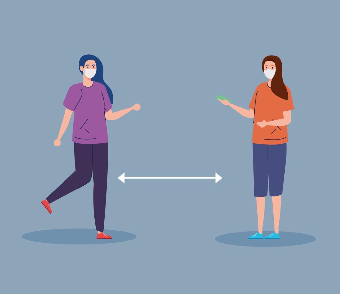 mulheres com máscaras praticando distância social vetor