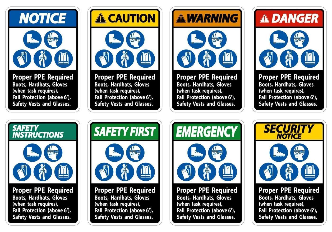 botas, capacetes e luvas adequadas para proteção contra quedas com símbolos de proteção contra queda vetor