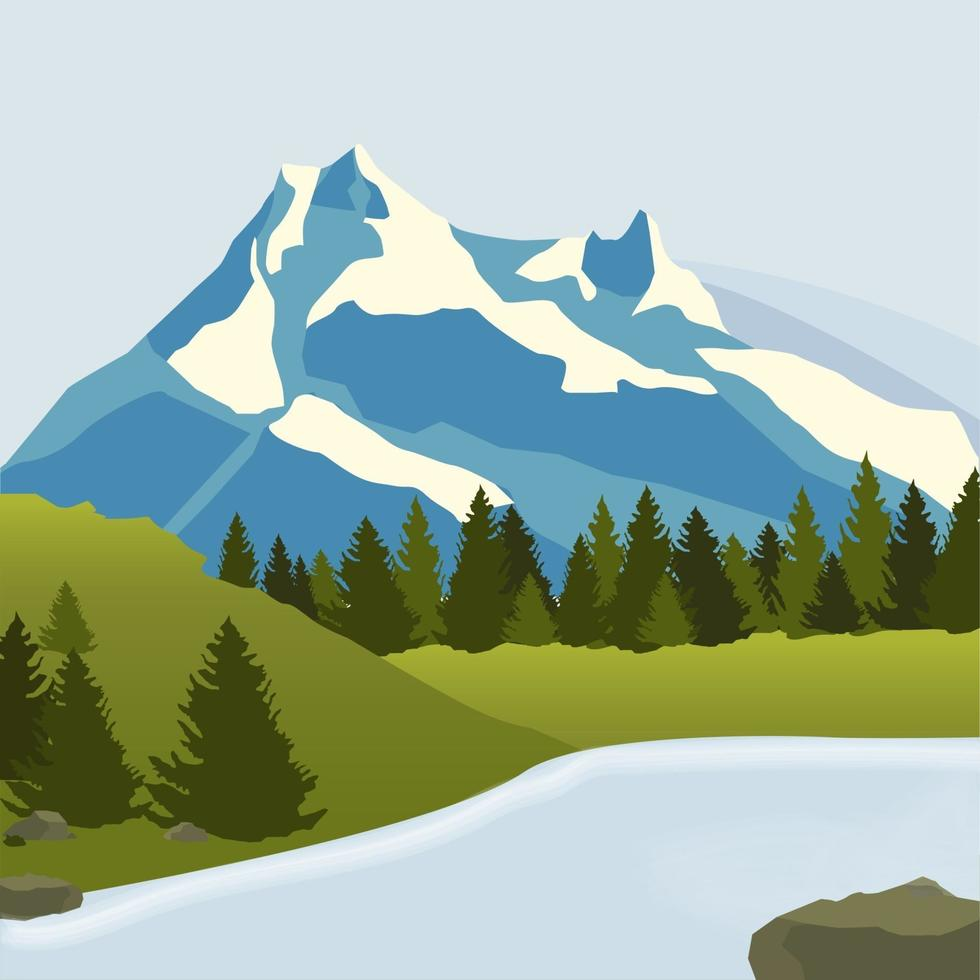 montanhas nevadas, prados verdes com floresta de pinheiros e um rio. ilustração vetorial vetor