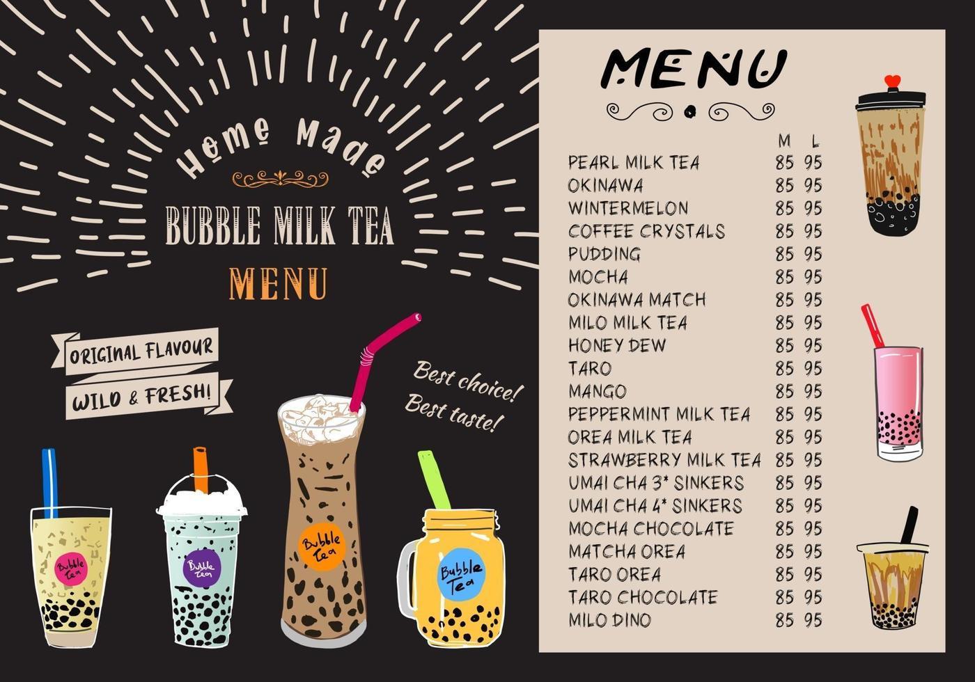 Chá com leite bolha, chá com leite de pérola, diferentes tipos de boba. bebidas saborosas. vetor
