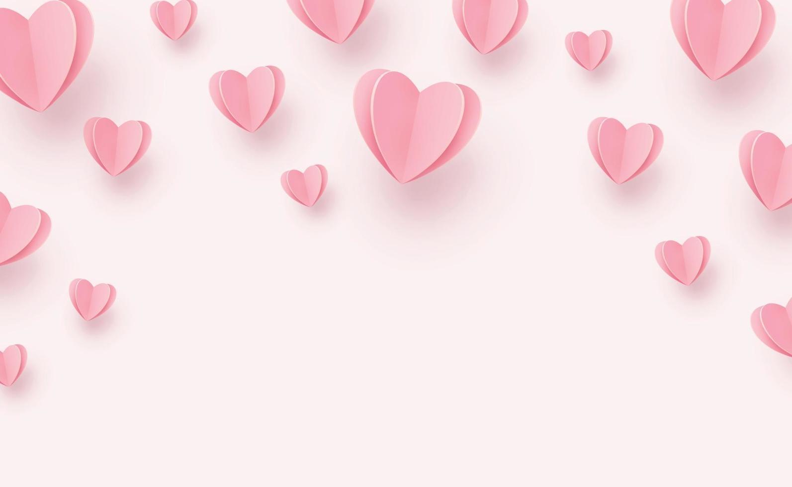 corações rosa-avermelhados suaves em um fundo rosa vetor