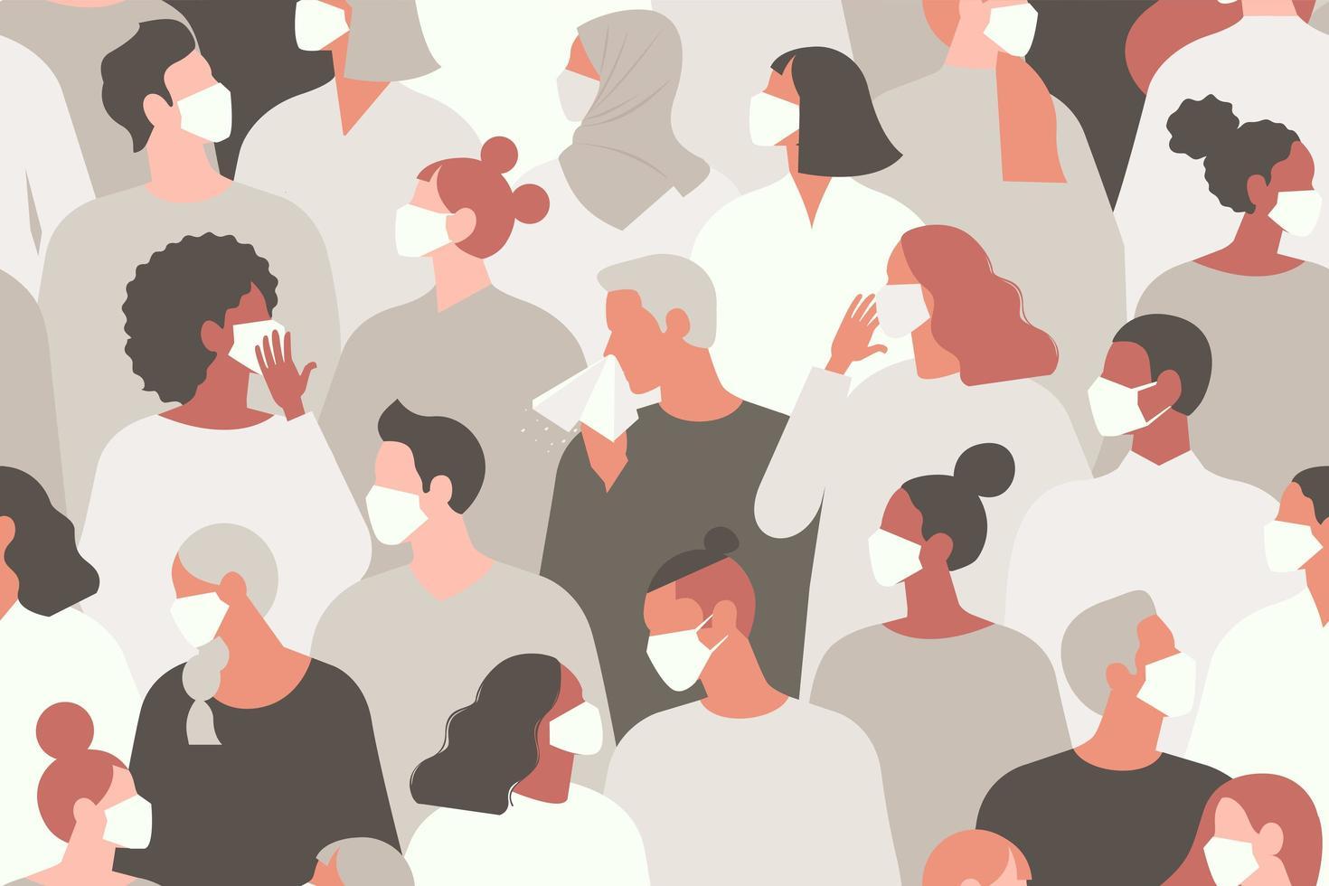 pandemia do coronavírus. romance coronavírus 2019-ncov, pessoas com máscara médica branca. conceito de ilustração vetorial de quarentena de coronavírus. padrão sem emenda. vetor