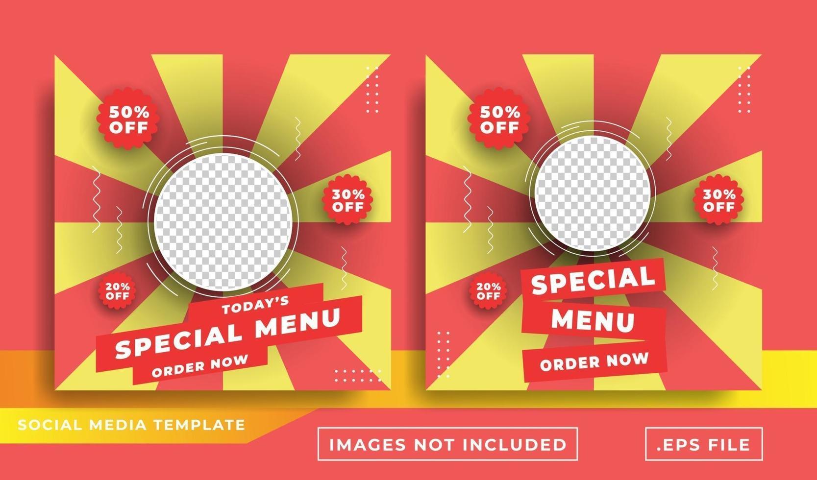 modelo de design de postagem de banner de promoção de mídia social de alimentos vetor