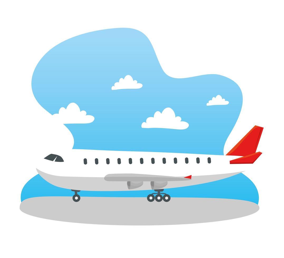 avião moderno no terminal, grande avião comercial no aeroporto vetor