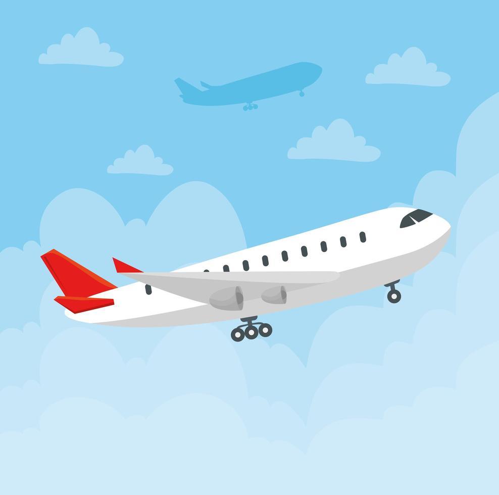 grande aeronave comercial voando vetor