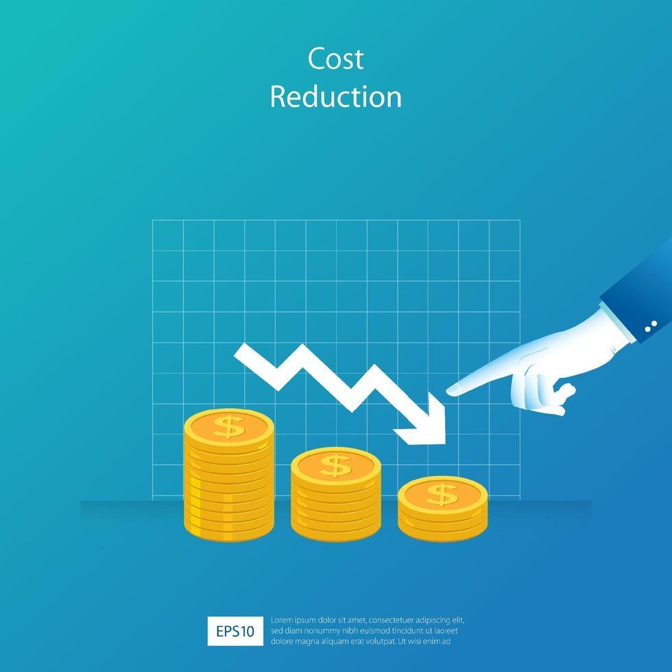 conceito de redução de custos. diminuir seta e ilustração vetorial de dedo apontando. modelo de negócios para banner, site ou impressão vetor