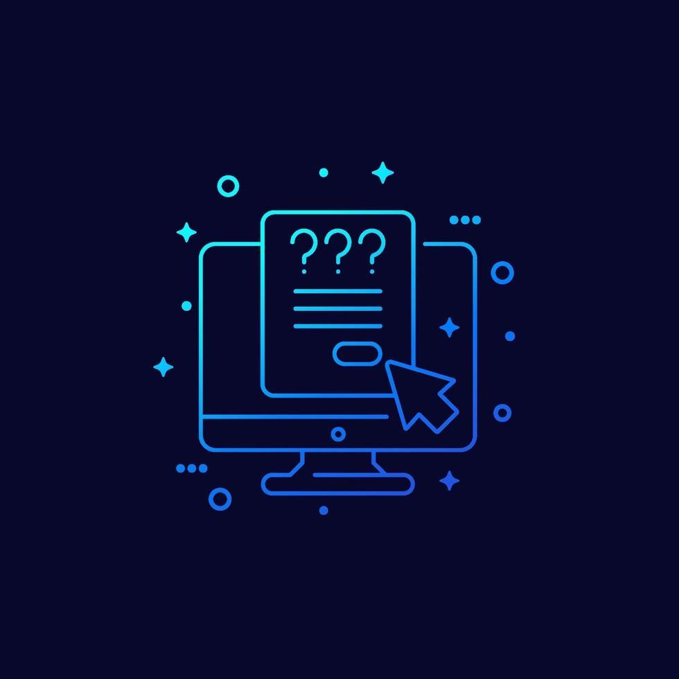 pesquisa ou questionário online, vector linear icon.eps
