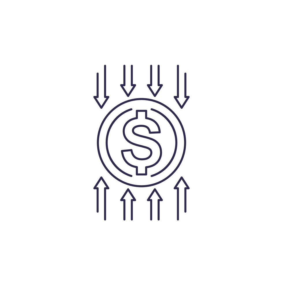 redução de custos, otimização, eficiência, ícone do vetor de linha financeira.