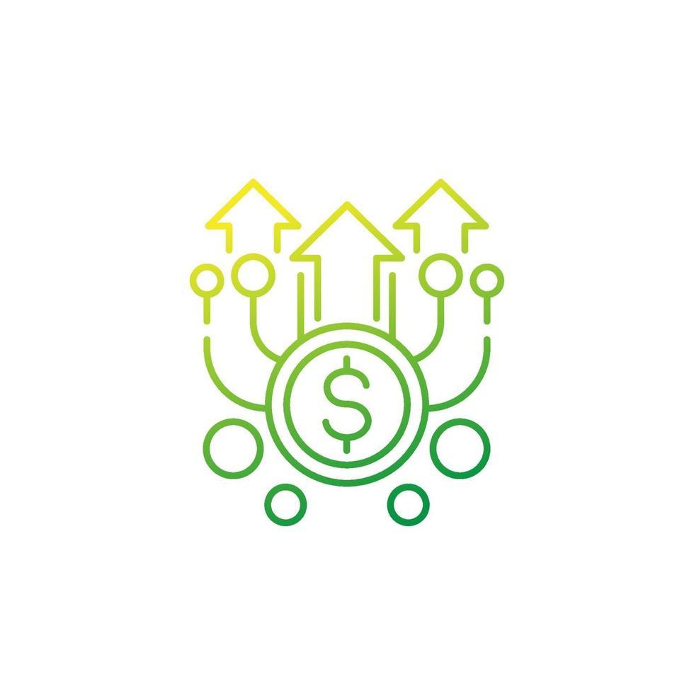 investindo, financiando linha de vetor icon.eps