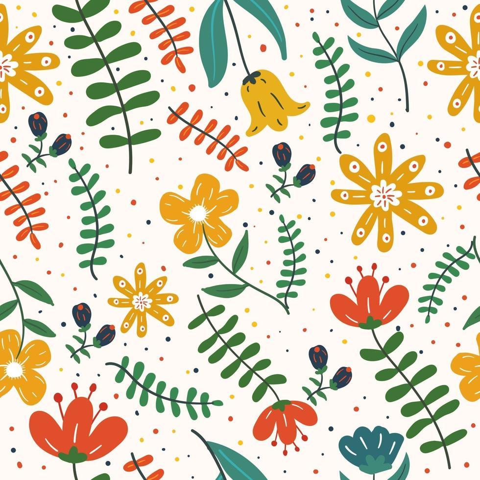 folhas exóticas coloridas e flores sem costura padrão vetor