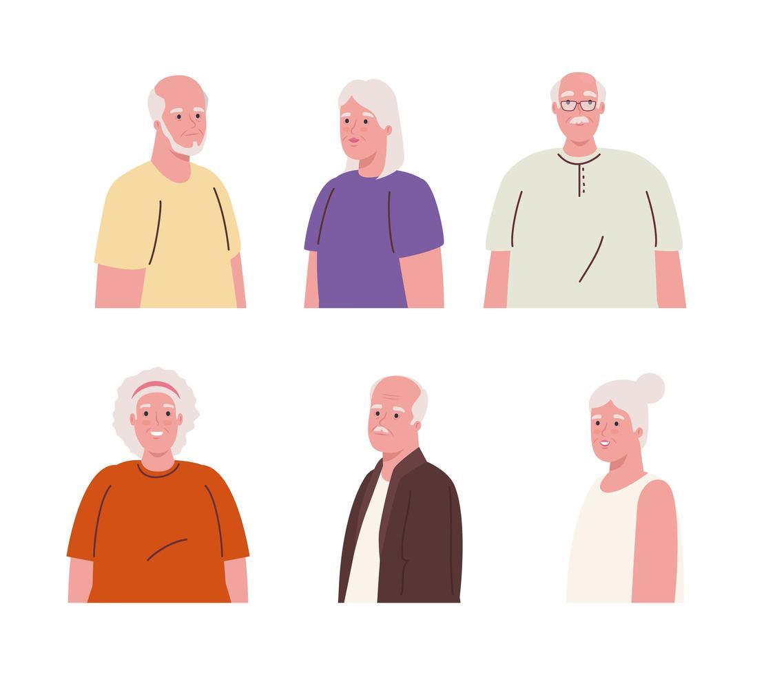 perfil de idosos em fundo branco vetor