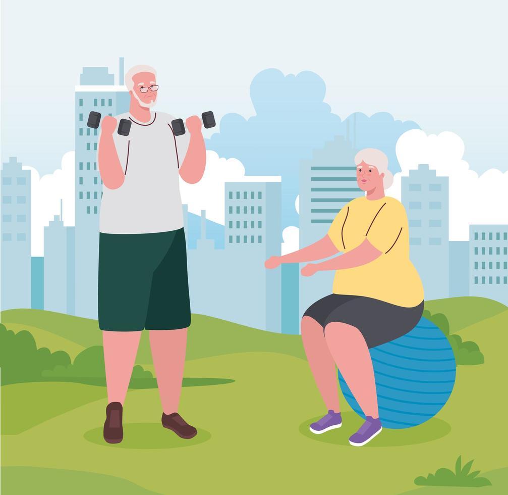 casal idoso fazendo exercícios ao ar livre vetor