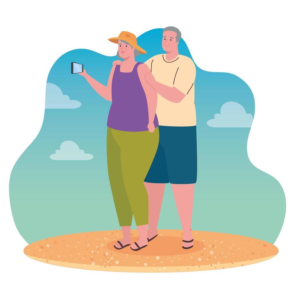 casal de velhos fofos tirando uma selfie com smartphone vetor