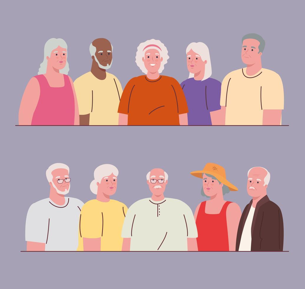 personagens idosos fofos vetor
