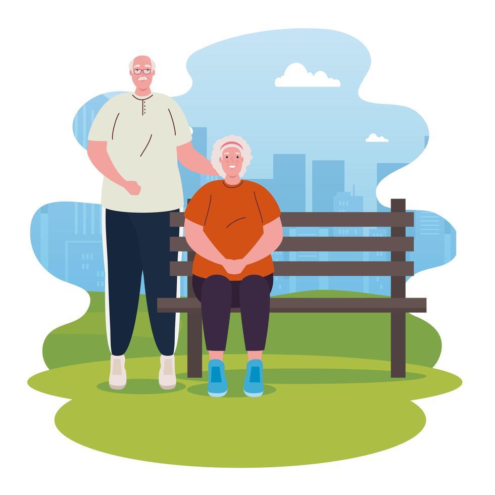 velho casal no parque vetor