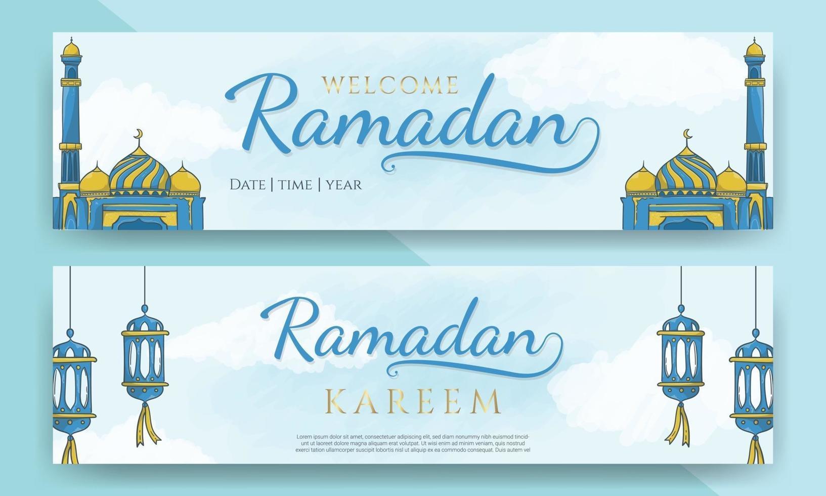 banners horizontais ramadan kareem com ornamento islâmico desenhado à mão vetor