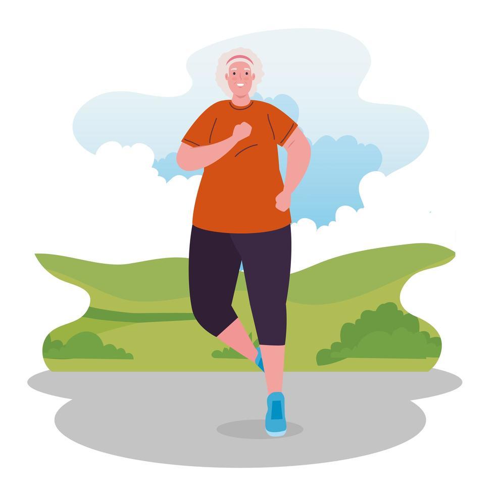 linda velha correndo ao ar livre, conceito de esporte e recreação vetor