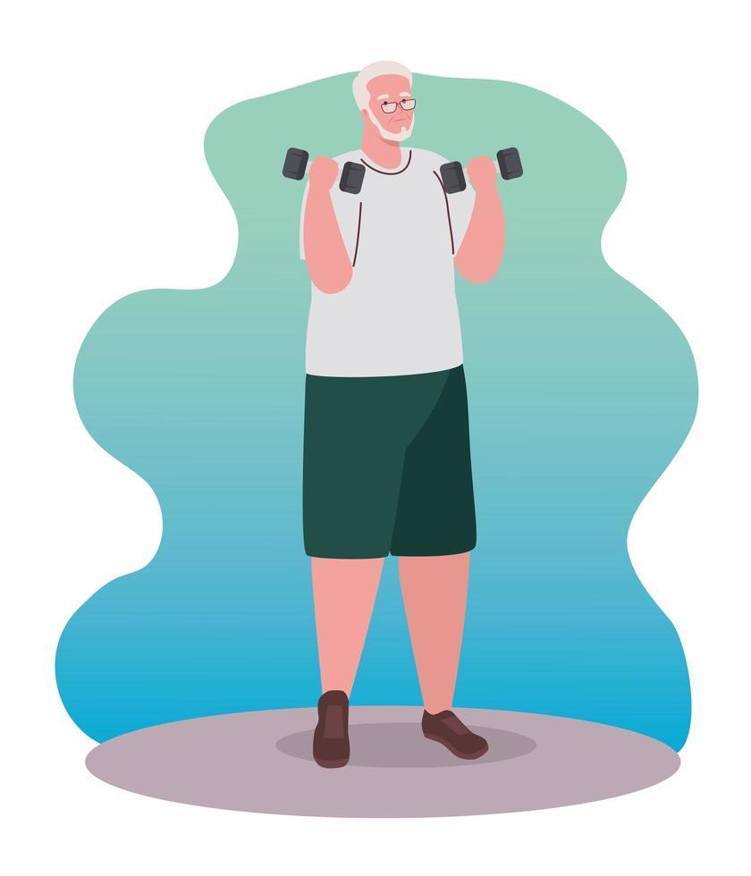 velho praticando exercícios com halteres, conceito de esporte e recreação vetor