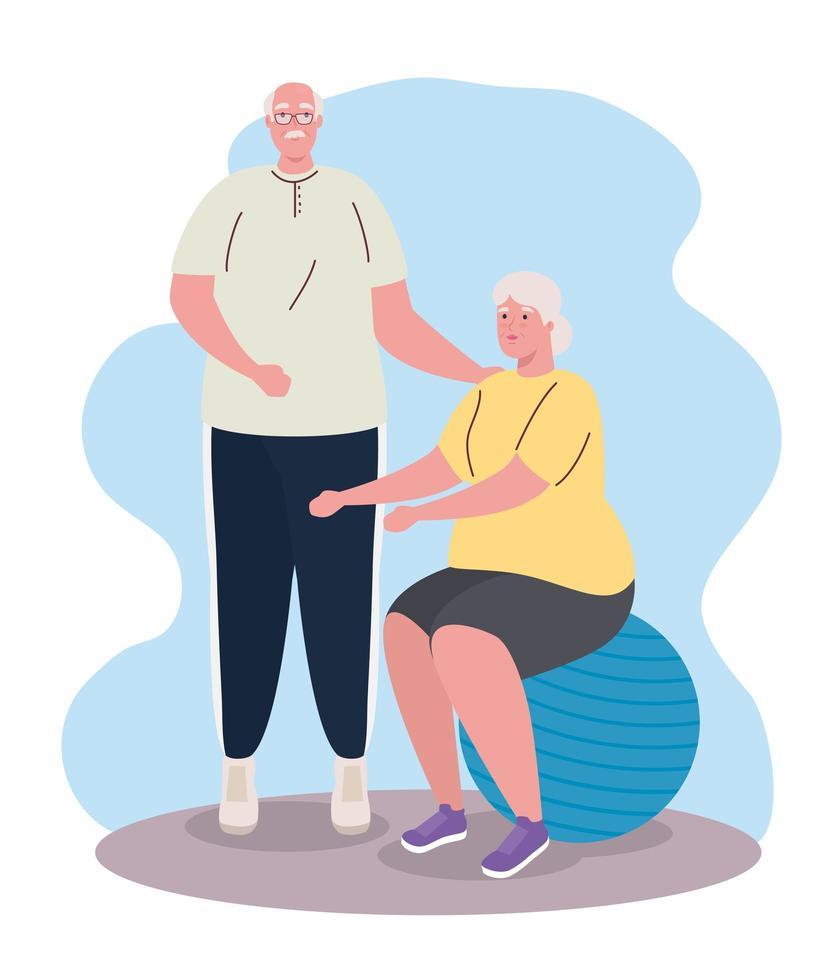 casal velho fofo praticando exercícios vetor