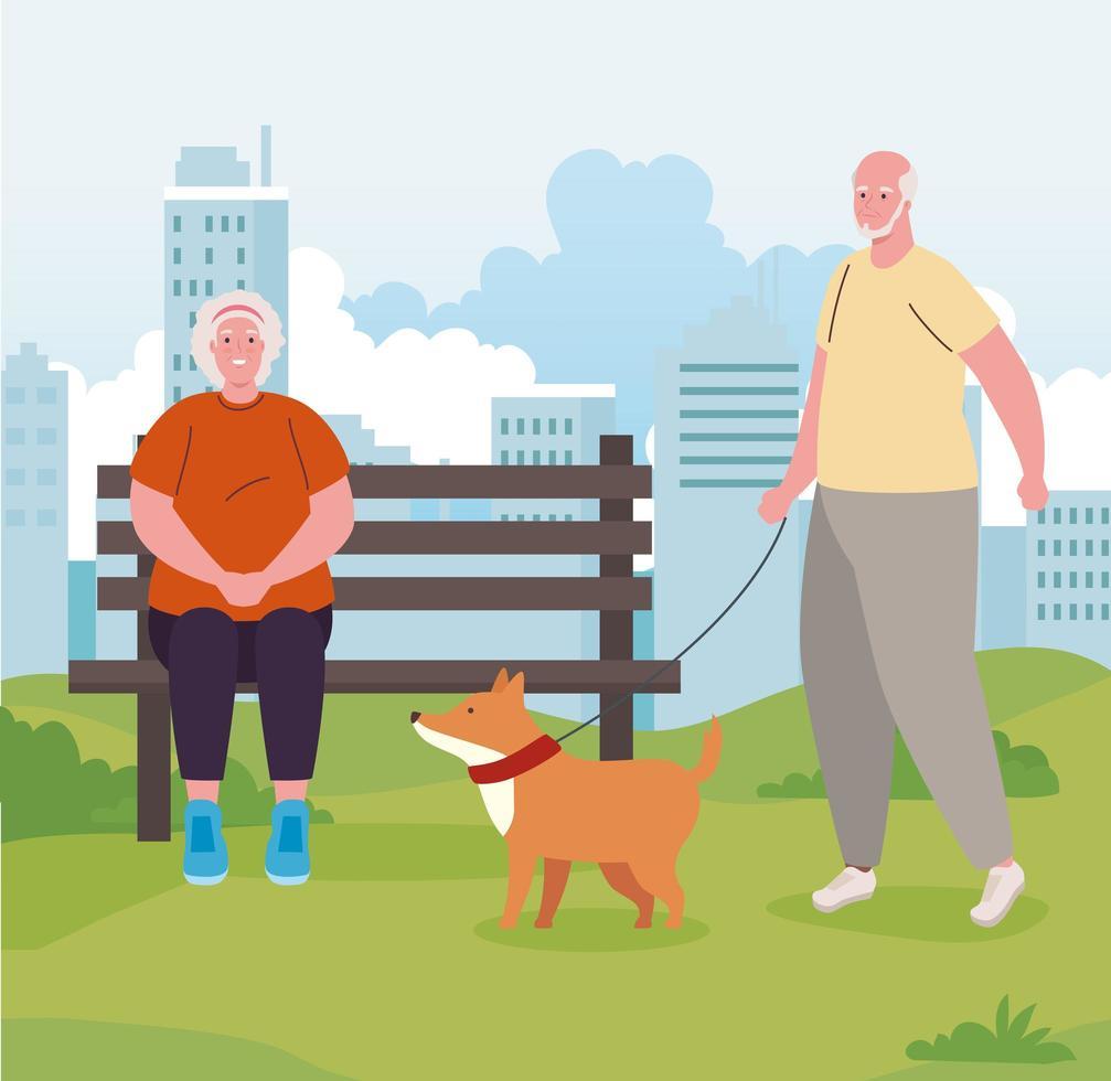 velho casal no parque com cachorro vetor