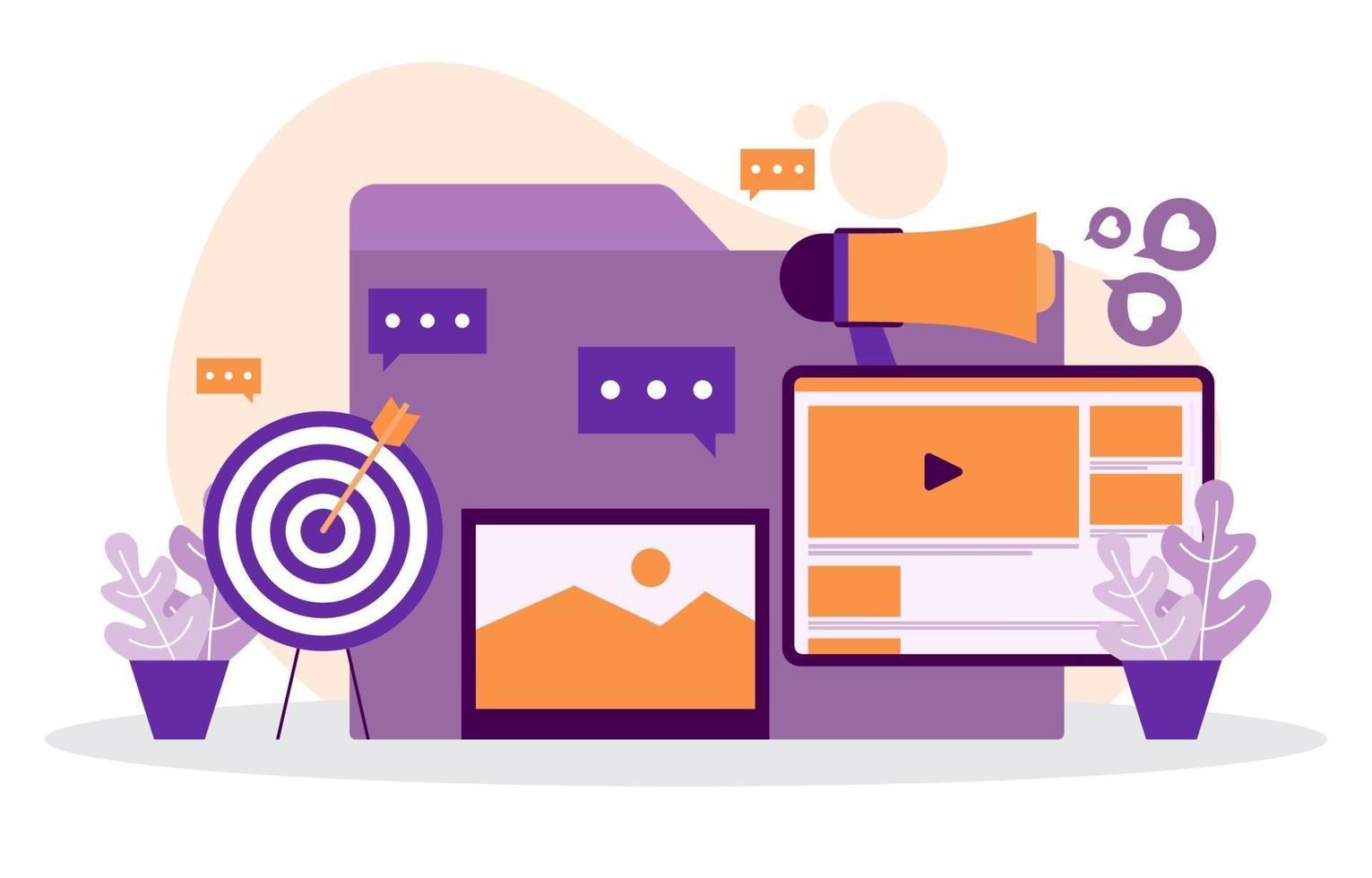gráficos e análises de marketing digital no computador vetor