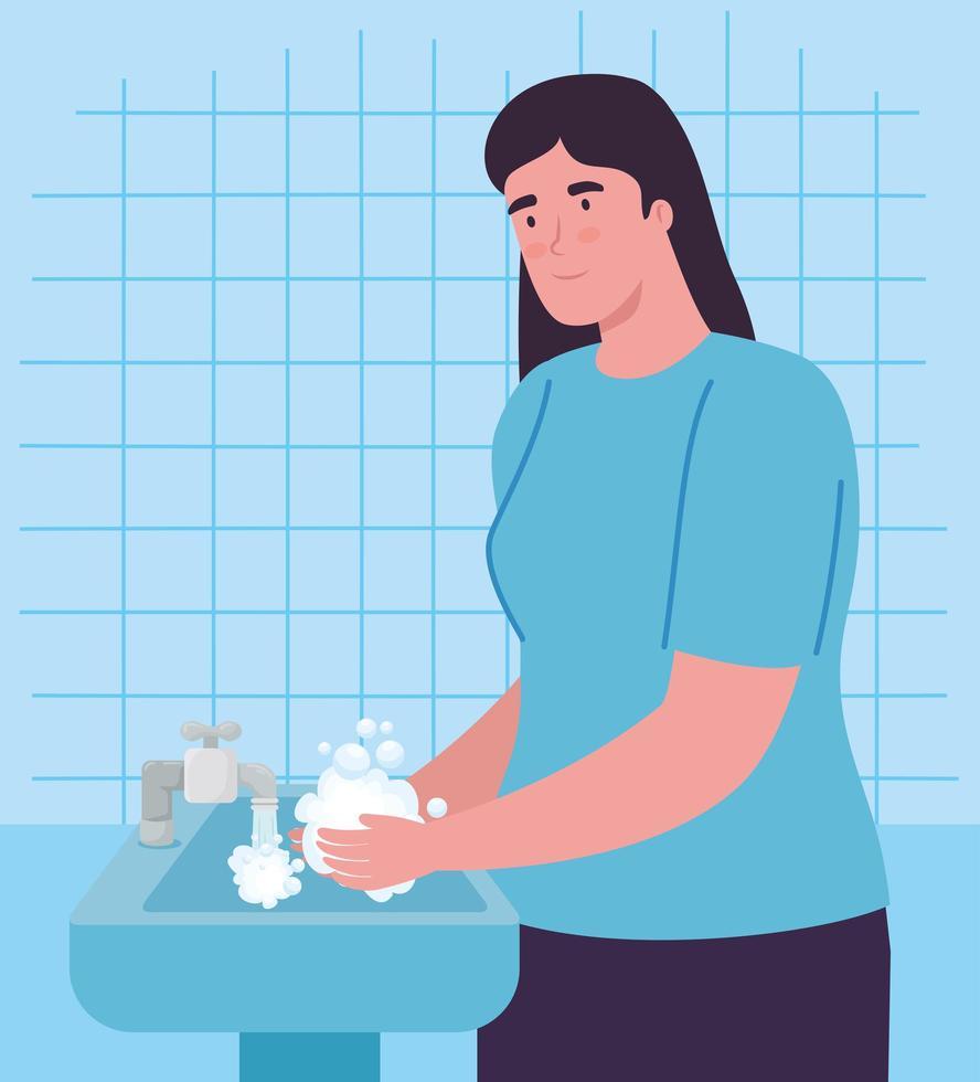 mulher lavando as mãos vetor