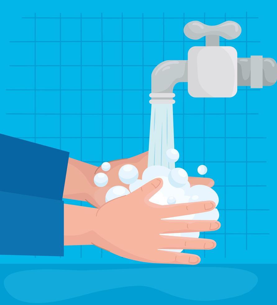 lavando as mãos na torneira vetor